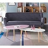 STONE Table basse scandinave laquée rose pastel brillant - L 98 x l 61 cm