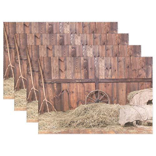 Use7 Tischset mit Holz-Rollen, 30,5 x 45,7 cm, Polyester, Tischmatte für Küche und Esszimmer, Polyester, Multi, Package Quantity: 1