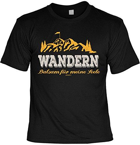 Freizeit/Wander/Kletter-Shirt/Sprüche-Shirt Thema Wandern: Wandern Balsam für meine Seele für Gipfelstürmer Schwarz