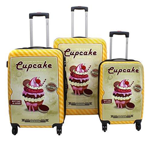 F|23, 3-tlg. Hartschalen Trolley-Set, 70 + 60 + 50 cm Trolleys, Mit Zahlenschloss, 4-Rollen-System, Cupcake, Orange, 77046-3
