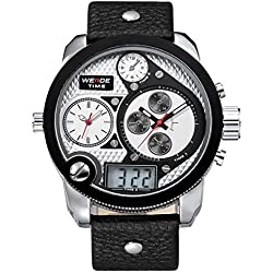 Alienwork DualTime Analogue-Digital Watch Multi-function LCD Wristwatch XXL Oversized Leather silver black OS.WH-2305-2