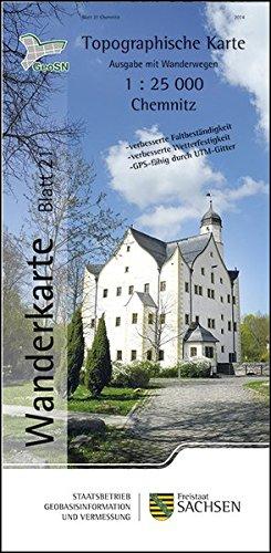 Chemnitz: Wanderkarte 1:25 000, Ausgabe mit Wanderwegen (WK25 Blatt 21) (Topographische Freizeitkarten Sachsen 1:25 000)