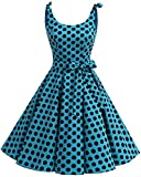 bbonlinedress 1950er Vintage Polka Dots Pinup Retro Rockabilly Kleid Cocktailkleider Blue Black Big Dot M