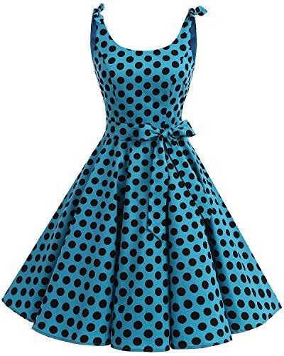 bbonlinedress 1950er Vintage Polka Dots Pinup Retro Rockabilly Kleid Cocktailkleider Blue Black Big Dot L Damen Fashion Kleid