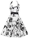 50s rockabilly kleid sommerkleid knielang blumenkleid damen neckholder kleid partykleider XL CL6075-15