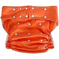 Pañales de tela para adultos, 1 piezas lavable bolsillo para adultos ajustable reutilizable ultra absorbente pañales pantalones de incontinencia con 8 colores(Orange)