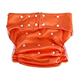Erwachsene Windelhose Wiederverwendbare, Ultra Saugfähige Inkontinenzhosen mit Doppelte Reihen von Snaps für Größe verstellbar, passend für Hüftumfang 70 – 120 cm (Orange)