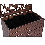 Songmics-Caja-joyero-de-madera-Organizador-para-bisuteras-joyas-Tapa-tallada-con-cristal-Marrn-JBC56W