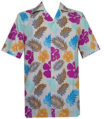 chemises hawaïennes Mens Floral Feuille Imprimé Plage Aloha Camp Party noir Off White