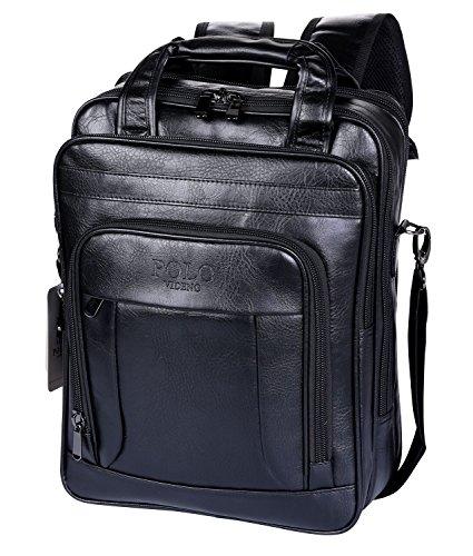 Imagen de videng polo  para portátil cuero negocio viajar colegio pantalón para 13 15 17 pulgadas negro v3