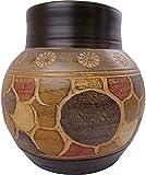 Vase Tonvase Teracottavase Blumenvase aus Ton 30 cm Rotfuchs® Handarbeit Dekoration Zubehör indoor outdoo beige gold
