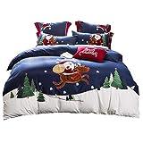 LETFF Weihnachts-Bettwäsche-Set 4-Teiliges Set Baumwolle Kinder, Einzel- Und Doppelgröße,Double