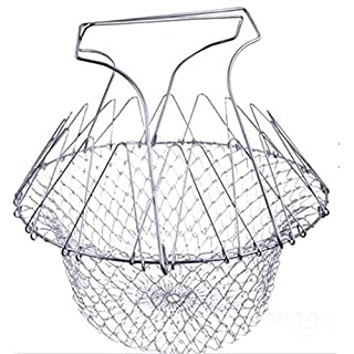 Aliciashouse Foldable Steam Rinse Strain Fry Chef Basket Strainer Net Kitchen Cooking Tool