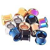 D&Min Jewelry 12er Set/ 6-Farben Schraub Hollow Edelstahl Tunnel Plugs (8mm)