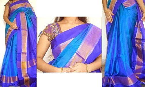 Fashion Flowerz Women's Silk Saree With Blouse Piece(Flofash-10_Multicolor_Free Size)