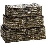 Juego 3 Cajas Rectangular Rafia Natural 24X14X8 / 22X12X7 / 20X10X6 Cm.