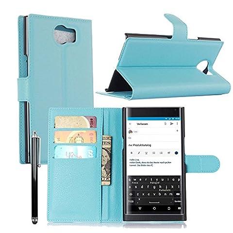 Owbb® Flip Housse Étui Coque de protection en PU cuir pour Blackberry Priv Smartphone -Bleu Clair