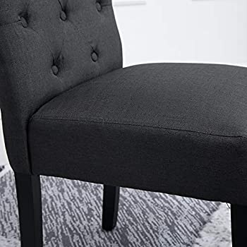 Huisen Furniture Modern Kitchen Chairs Set of 6 Fabric Upholstered Dining Chairs Black Wood Legs Dark Grey Chairs with Button for Bedroom Chairs Living Room Side Chairs Restaurant
