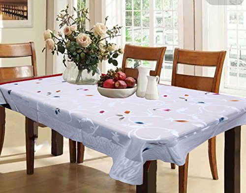 Kuber Industries Cotton 6 Seater Dining Table Cover - White