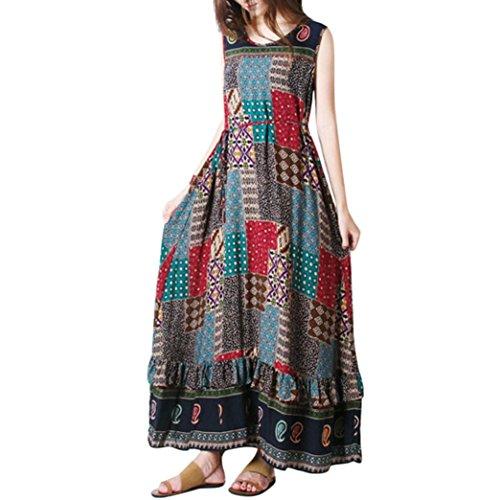 34bcb5f427a32e SMILEQ Dress Women Summer Sleeveless Dress Casual Linen Strappy Loose Boho  Print Skirt Plus Size Long Sundress (M, Khaki)