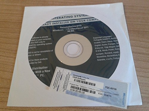Microsoft Windows 7 Professional 64 Bit - Dell DVD + Lizenzaufkleber inkl. Service Pack 1
