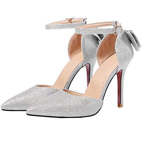 YE Glitzer Elegant Heels Damen Stiletto Schuhe Schleife Absatz High mit Hochzeit Party Silber Ankle Strap 10cm Pumps Spitze 44rqH