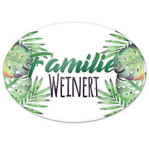 Eurofoto Türschild mit Namen Familie Weinert und Tropischem Pflanzen-Motiv | für den Innenbereich | Klingelschild mit Nachnamen