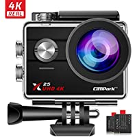 Campark X25 Native 4K Action Camera Wifi Waterproof Cam 30M Underwater Cameras for Vlog 170° with 2 Rechargeable Batteries and Mounting Accessories Kit compatible with gopro