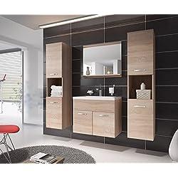 Badezimmer Badmöbel Montreal XL 60 cm Waschbecken Sonoma Eiche - Unterschrank Hochschrank Waschtisch Möbel