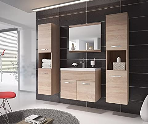 Bathroom cabinet Montreal XL 60cm basin Sonoma oak - Storage cabinet vanity unit sink furniture