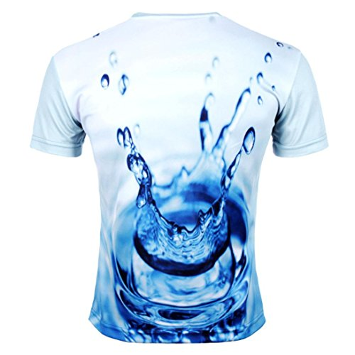 Rcool Männer Cool 3D Rundhals gedruckt Wasser Tröpfchen T-Shirt Weiß