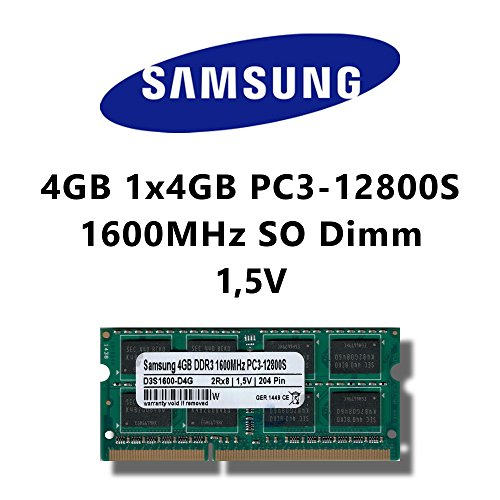 Samsung Sodimm (Samsung 4GB (1x 4GB) DDR3 1600MHz (PC3 12800S) SO Dimm Notebook Laptop Arbeitsspeicher RAM Memory)