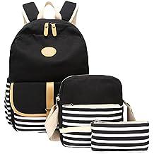 WanYang 3 Piezas Mochila + Bolso de Bandolera + Billetera Para Lona Backpack Mochilas Escolares Mochila Escolar