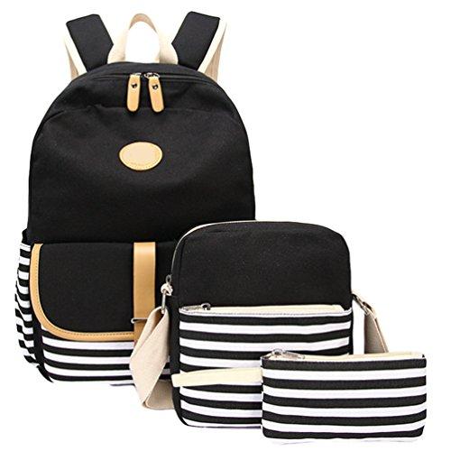 WanYang Damen Herren 3 Sets Canvas Rucksack Beiläufig Daypack / Schultertaschen / Mäppchen für weibliche Teenager Schultaschen 3 Stück Schwarz