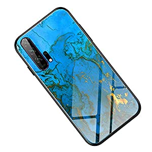 Fantasyqi Handyhülle Kompatibel mit Huawei Honor 20 Pro Hülle Gehärtetes Glas Zurück mit Weichem TPU Silikon Rahmen Farbmischung Glas Design Ultradünn Slim Case Cool