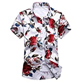 OMUUTR Herren Kurzarm Hemd Bluse Tops Baumwolle Hawaii-Print Funky Hawaiihemd Strandhemd Freizeithemd Party Große Blume Blätter Sommer Shirts
