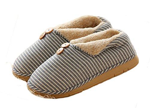 Auspicious beginning Pantofole da casa a righe in cotone caldo con cinturini in misto cotone e unisex Blu
