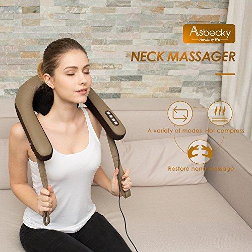 Preisvergleich Produktbild Elektronische Massagegerät für Schulter und Nacken,  Asbecky Shiatsu Kneten Nackenmassagegerät mit 6 Stücke Massageköpfe,  Selbstregulierte Stärke der Spannung für Zuhause oder im Büro.