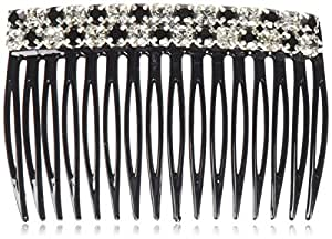Caravan Comb With Jet And Crystal Swarovski Rhine Stone, 0.5 Ounce