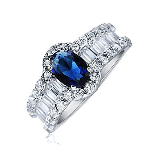 Bling Jewelry Stile Art Deco Ovale Solitario Alone Blu Zaffiro Simulato Anello di Fidanzamento per Donne Argento 925