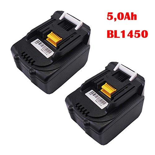 Preisvergleich Produktbild 2 Stück Makita Akku BL1450 Lithium-Ion 5,0 Ah 14,4 Volt Ersetzen BL1430 BL1440