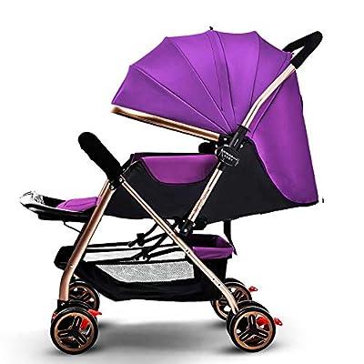 Yhz@ Cochecito de bebé Ligero Portable High Landscape Puede Sentarse y acostarse Plegable Simple Handle Reversible Suspension Neonatal Buggy Baby Trolley Sillas de Paseo (Color : Purple)