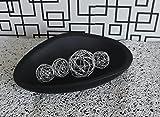 Deko Schale aus massivem Mangoholz, oval, Muschel (schwarz)