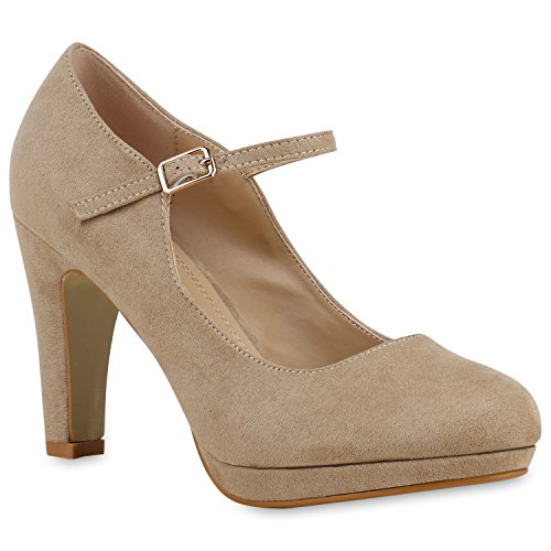 Damen Pumps T-Strap Blockabsatz High Heels Damen Mary Janes Samt Velours Spangenpumps Lack Leder-Optik Schuhe 129496 Creme 41 Flandell