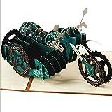 Kofun Vatertag Geschenke, Muttertag Handmade 3D Pop Up Motorrad Geburtstag Frohe Weihnachten Ostern Danke Weihnachten Muttertag Geschenkkarte 15x15 cm