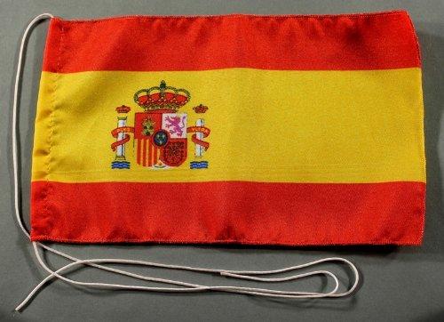 Spanien mit Wappen 15x25 cm Tischflagge in Profi - Qualität Tischfahne Autoflagge Bootsflagge Motorradflagge Mopedflagge
