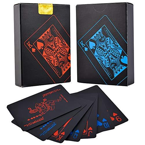 dgaf&bae Poker Karten-Schwarze Goldfolie PVC Premium Playing Cards aus Top Qualität Poker für Ihr Poker Vergnügen( schwarz/ 2 Stück)