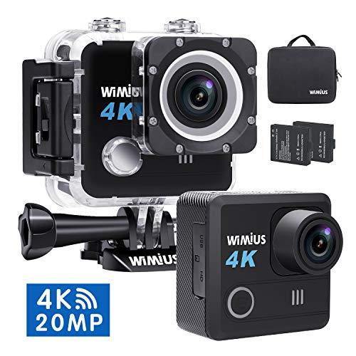 Telecamera sportiva 4k 20MP, WiMiUS L1 Sports Action Camera WiFi Ultra HD 2.0 LCD impermeabile 30M Schermo grandangolare 170M con 2 batterie e accessori + Borsa (nero)