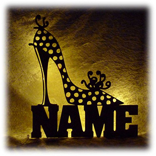 Schlummerlicht24 Motiv Lampe Schuhe Deko Geschenke mit Namen lustige witzige Geschenkidee individuell für Freundin Frau Schuhverkäuferin Schuhgeschäft personalisiert
