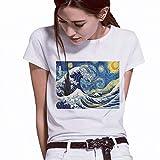 LIULINUIJ TeeShirt Femme Van Gogh Peinture À l'huileAnge Top Graphic Tee...